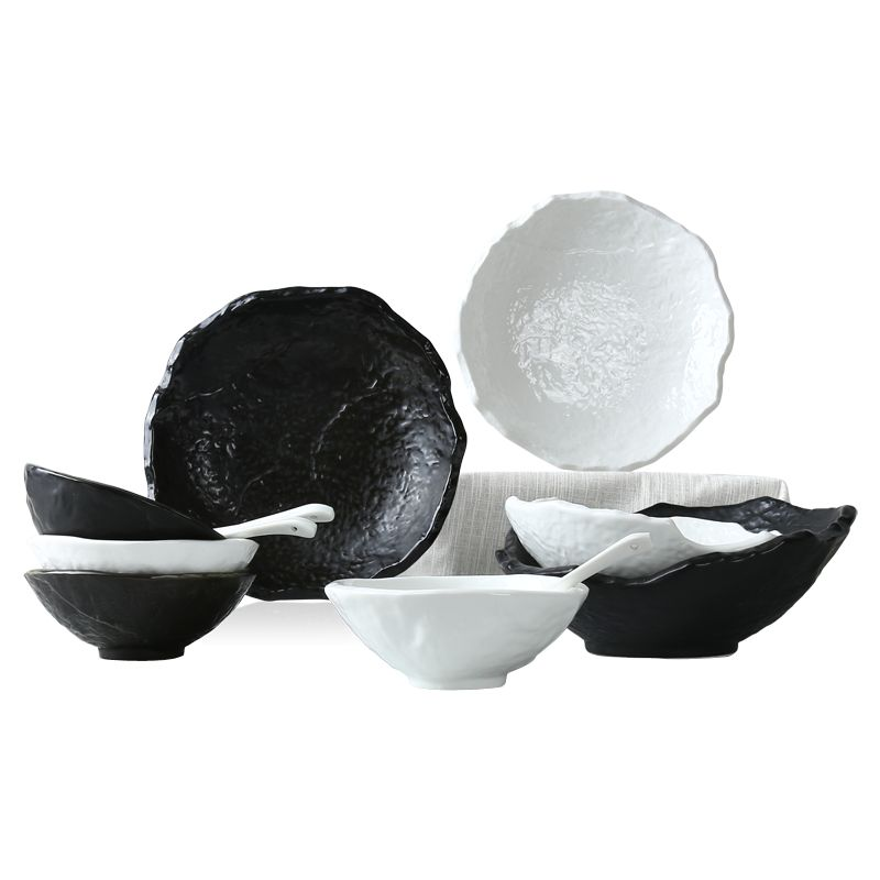 12 Set High Quality Dishes And Plates Black White Stone