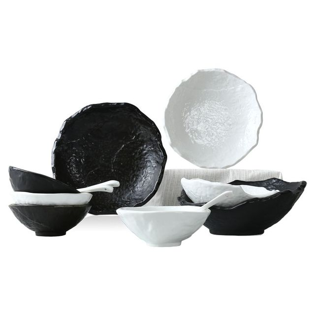 12 Set High Quality Dishes And Plates Black White Stone Texture