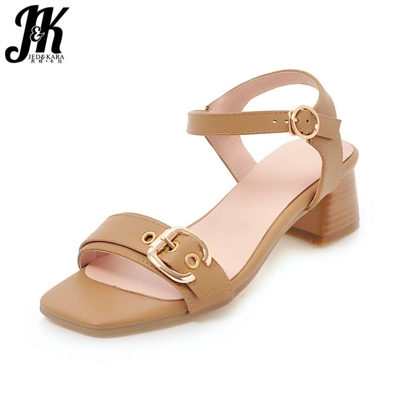 JK New Thick Wood Heels Summer Sandals Women Open Toe Ankle Strap Hoof Heels Footwear 2018 Fashion Casual Ladies Shoes Big Size