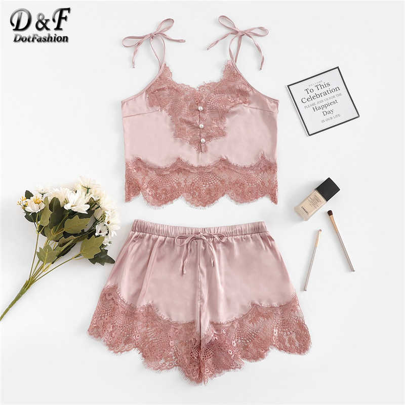 29b7e61c6c Detail Feedback Questions about Dotfashion Pink Contrast Lace Cami Top And  Shorts With Thong Satin Lingerie 2019 Summer Sexy Sleep Wear For Women Set  ...