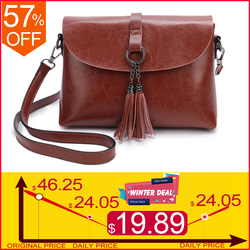 New Arrival Genuine Leather Women Crossbody Bag Fashion Tassel Messenger Bag Simple Design Small Female Shoulder Bag Women Purse