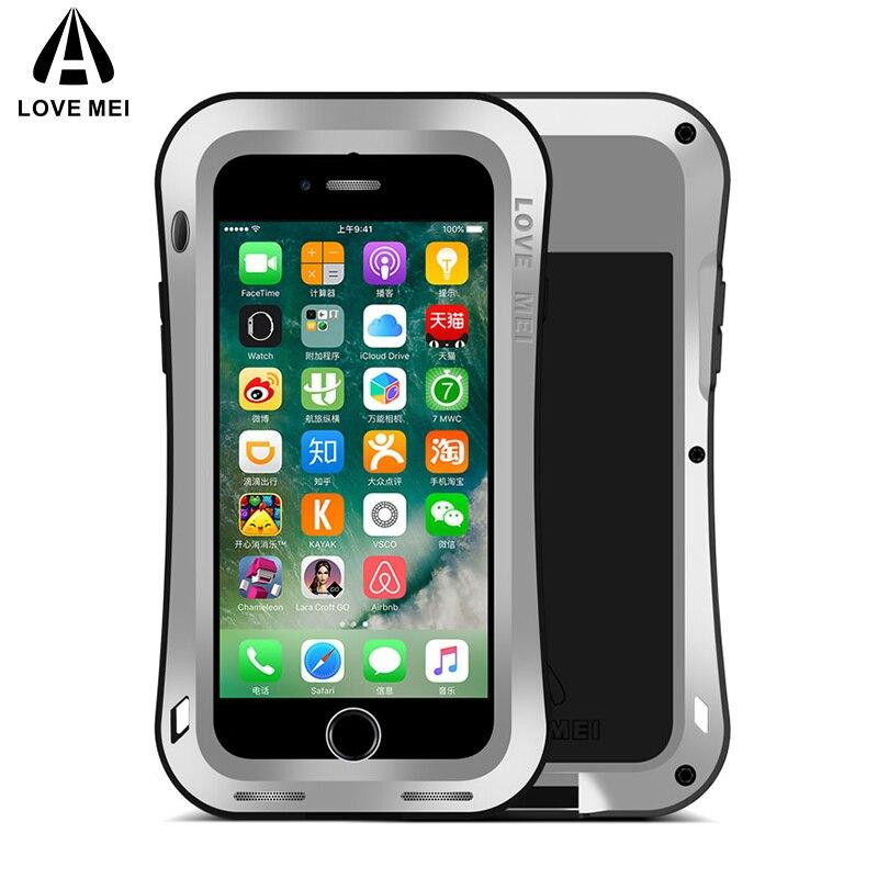 AMOUR MEI Petite Taille Armure Cas Pour iPhone 7 8 7 Plus 8 Plus Metal Couvercle En Aluminium Pour iPhone7 7 Plus 8 Plus D'eau/Choc/Pluie preuve