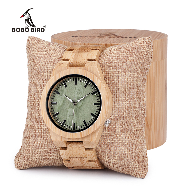 BOBO BIRD Men's Top Brand Design Green Wood Dial Watch with Full Bamboo Wooden Bands Sport Quartz Watches in Round Box bobo bird brand new wood sunglasses with wood box polarized for men and women beech wooden sun glasses cool oculos 2017