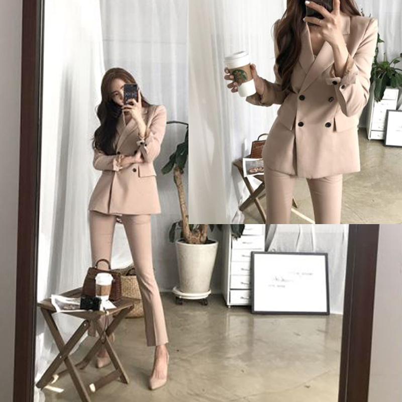 2 Piece Set Women Suit Femal New Style High Quality Business Solid Color European Style Casual Office Lady's Jacket + Pants Suit