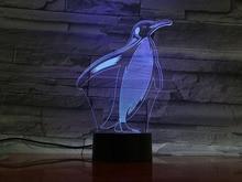 Animal penguin 3D Lamp Touch Sensor 7 Color Changing room Decorative Lamp Child Kids Baby Kit Nightlight penguin Led Night Light halloween bat witch acrylic 7 color changing 3d led nightlight bedroom lamp living room lights decoration touch 3d led lamp