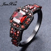 JUNXIN Antique Jewelry Red Square Zircon Finger Rings For Female Male Black Gold Filled Wedding Party Friendship Ring Anel