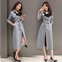 Women Long Trench Coat 2016 New Spring Autumn Korean Fashion Casual Cashmere Outwear Coat Slim Was