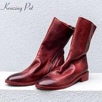 Krazing Pot full grain leather round toe elegant women thick heel streetwear leisure back zipper style casual mid calf boots L12