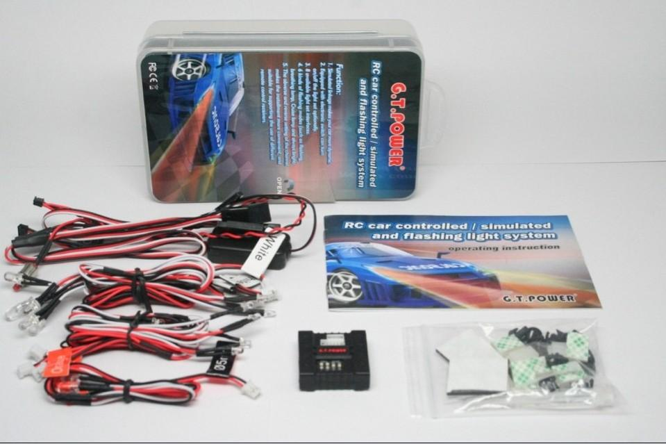 G.T.Power Radio Controlled / Simulated / Flashing Light System with 6 Flashing Modes for RC Car Model F13059 radio controlled toys
