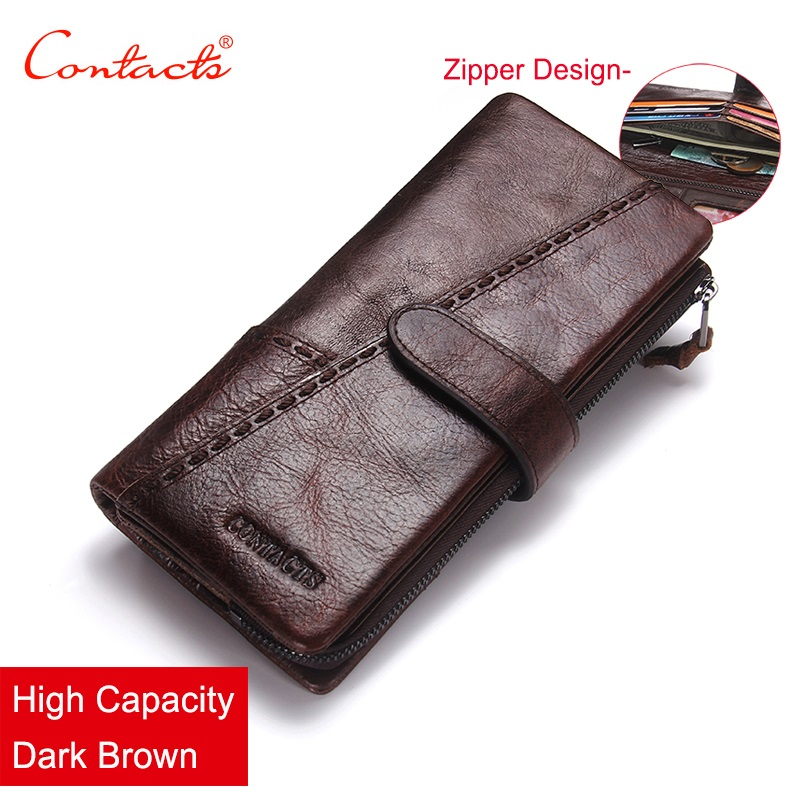 CONTACT'S 100% Genuine Leather Wallet Men Long Vintage Cow Leather Casual Purse Brand Design High Quality Wallets Cell Phone Bag brand design men luxury individuality vintage long wallet skull style genuine cow leather purse men s clutch handy phone bags
