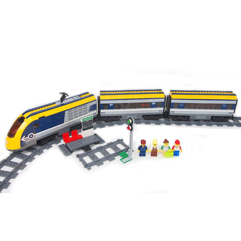 все цены на Lepin 02117 City New RC Passenger Train with Tracks Compatible 60197 Model Set Building Blocks Bricks Toys for Children Birthday онлайн