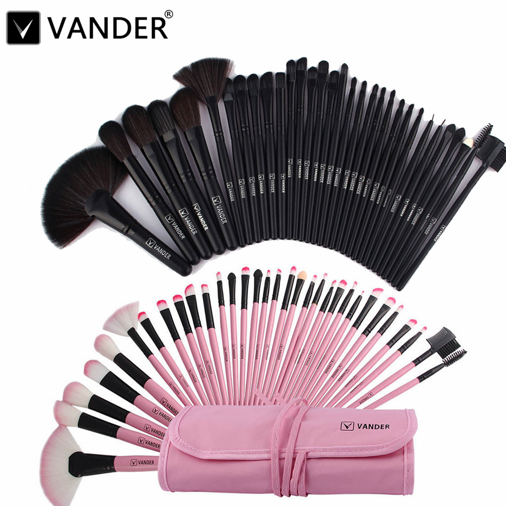 Professional Bag Of Makeup Beauty Pink / Black Cosmetics 32/24pcs Make Up Brushes Set Case Shadows Foundation Powder Brush Kits 2 pcs of new tenor trombone gig bag lightweight case black