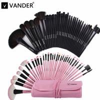 Professional Bag Of Makeup Beauty Pink / Black Cosmetics 32pcs Make Up Brushes Set Case Shadows Foundation Powder Brush Kits