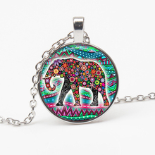 Bless Lucky Elephant Pattern Glass Pendant Necklace Color Picture  Long Chain Man Woman Good Luck Charm Choker