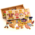 Wooden Bear Change Clothes Classic Bear Family Dress Jigsaw Puzzle Children Educational Wooden Toy Creative Wooden Toys