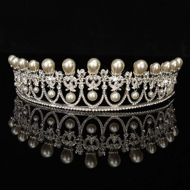 Braut haarschmuck strass  Vintage Silber Braut Tiaras Perlen Krone Stirnband Kristall Strass ...