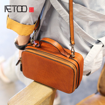 AETOO Retro style small square small box first layer of leather crossed square handbag mini leather shoulder diagonal package