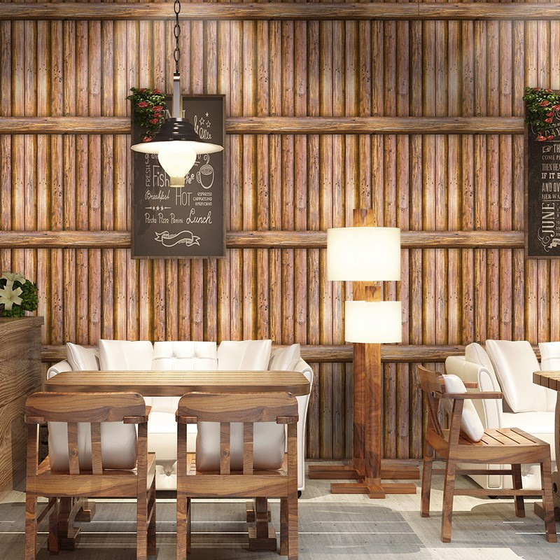 3D Wallpaper Retro Wood Grain Stripe Wall Sticker Living Room Study Dining Room Background Wall Decor PVC Waterproof Wall Papers
