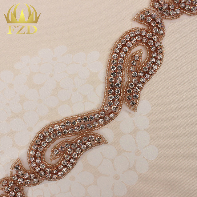 (10yards) Wholesale 1 Yard Sew On Hot Fix Rose Gold Beaded Rhinestone Trim  Applique 28670d931f1b