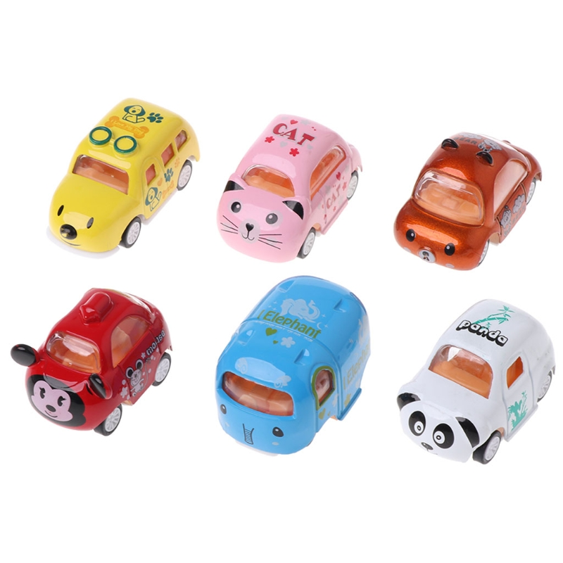 6PCS Alloy Car Model Cartoon Inertia Car Education Toy Gifts Baby Toy Kid Toy