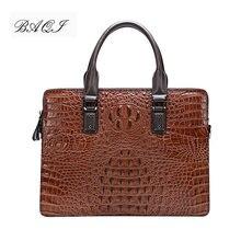 Мужской портфель baqi сумка мессенджер из воловьей кожи с крокодиловым