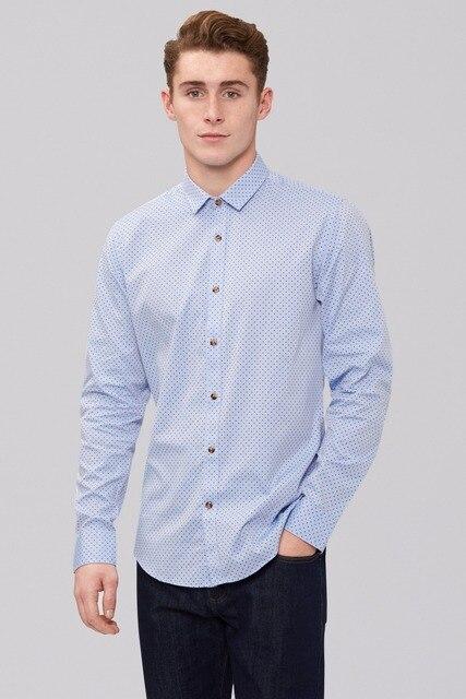 Новое поступление 100% хлопок На Заказ синяя точка и манжеты кнопку на заказ рубашки мужчины