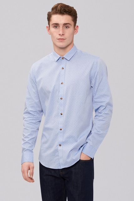 New arriving 100% cotton Custom made blue dot and button cuff made to measure shirt men