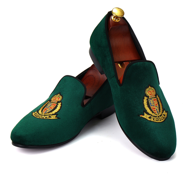 6f468397446cc Harpelunde Men Moccasins Green Embroidered Velvet Loafers Fashion Smoking  Slippers Size 7-14