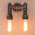 2 Lights Loft Wall Lamp Iron Water Pipe Industrial Vintage Retro Wall Sconce Fixtures For Home Lighting Cafe Bar Living Room