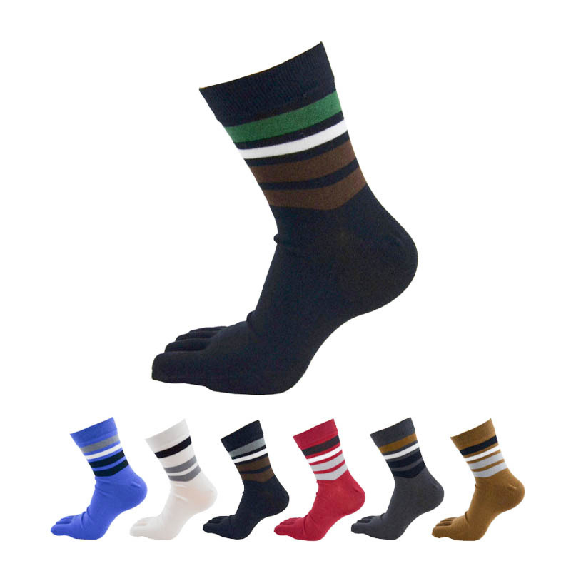 6Pairs Fashion Business Men Toe Socks Striped Colorful Crew Cotton Socks For Male Pure Solid Five Finger Toe Dress Socks