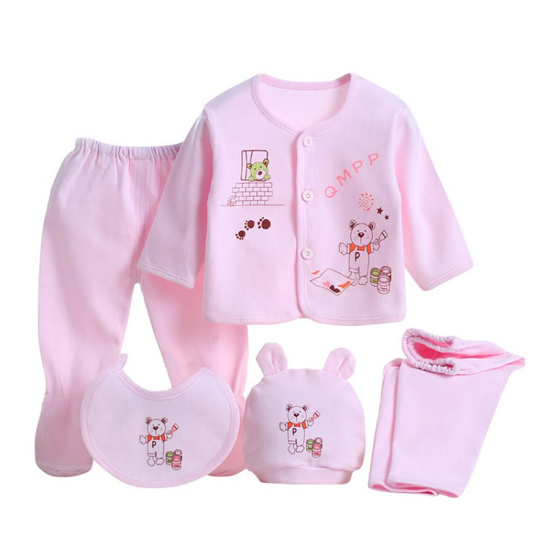 New 0-3M Cartoon Printed Underwear Newborn Baby Clothing Set Baby Boys Girls Cotton Children Suit5Pcs hhtu 2017 new infant baby girl boys sleep clothing set children cute cartoon pajamas suit newborn kids soft cotton underwear