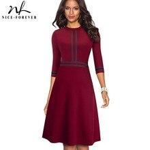 52f9bb61995fa Agradable para siempre Vintage elegante Patchwork ronda cuello Pinup Mujer  vestidos de Fiesta llamarada vestido Retro