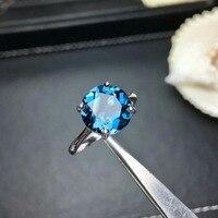 Shilovem 925 Серебряные кольца из стерлингового серебра настоящий натуральный Лондонский голубой топаз круглый открытый Трендовое изысканное у