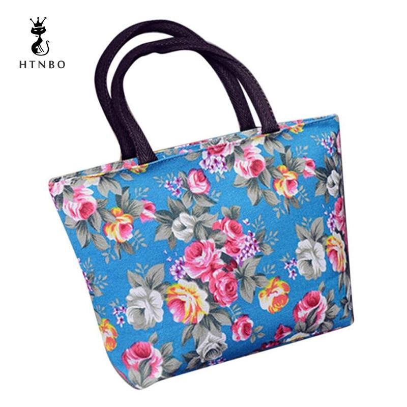 2018 Floral Design Female Mini Handbags High Quality Canvas Printing Small Casual Totes Bag Womens Shopping Bag Bolsas Mujer