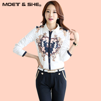 2017 New Spring Autumn Blouse Women Turn Down Collar Long Sleeve Baroque Style Printing Blouse T713324Y