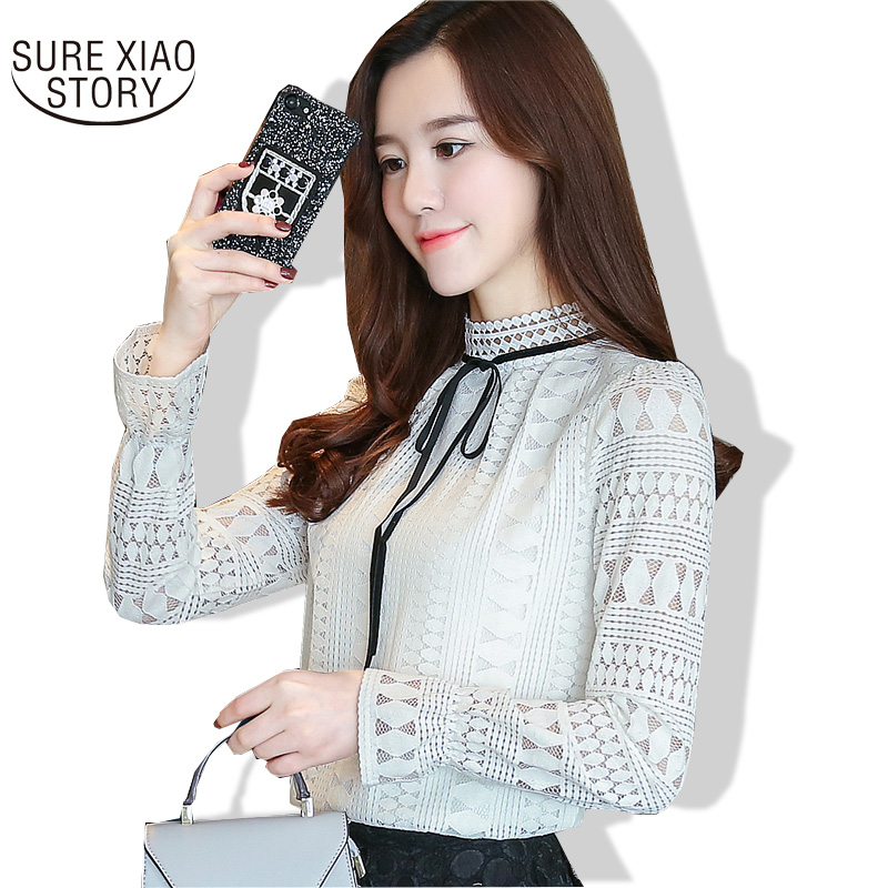 dsg Fashion Co Ltd's store 2017 New Collar Long Sleeve Lace Render Unlined Upper Garment Unlined Upper Garment Female Casual Hollow-out Blusas 902H 30