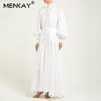 [MENKAY] Vintage Hollow Out Women White Dress Long Lantern Sleeve Maxi Beach Dresses Sundress Summer Clothes For Women Robe