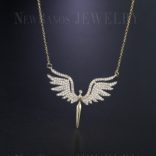 Newranos Angel Wing Charm Necklace Micro Paved Cubic Zirconias Pendant Necklace Champagne Gold Color for Women Jewelry NFX001402