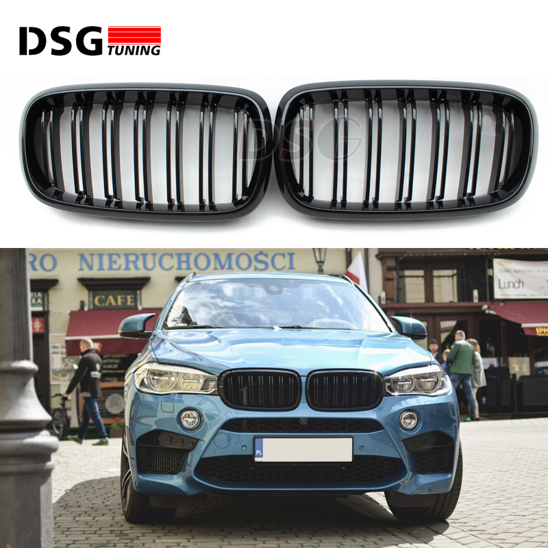X5 F15 Carbon Fiber ABS Front Grille For BMW X6 F16 Bumper Kidney 2-FIN Gloss Black 2015 - Present pair gloss matt black m color front kidney racing bumper grille grill for bmw x5 f15 x6 f16 x5m f85 x6m f86 2014 2015 2016 2017