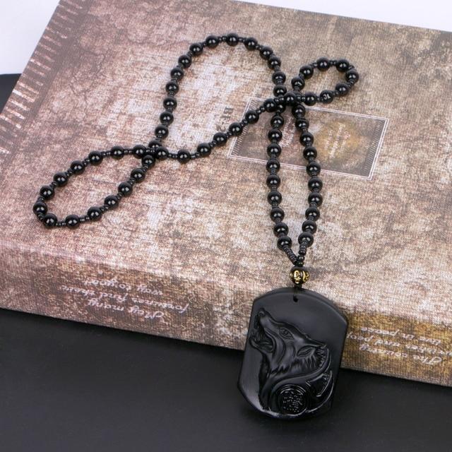 JAVRICK Đen Obsidian Wolf Vòng Cổ Khắc Wolf Head Bùa Mặt Dây Chuyền Với Chuỗi Obsidian Blessing Lucky Mặt Dây Trang Sức NEW