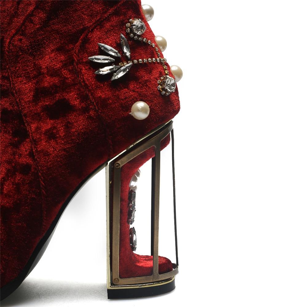 Elegante Rosado Dedo Tamaño Redonda pink Moda De Tinto Del Masgulahe 43 Negro Botas 33 Mujer Cristal Zapatos Zipper Tobillo Rojo Gran Flock vino Señoras Negro Pie Vino 5WW80Z