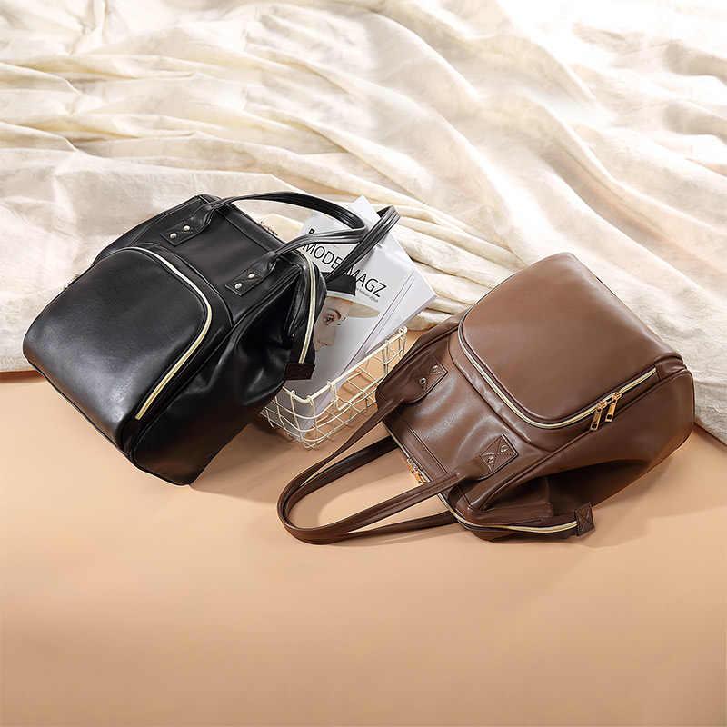 Mais real mochila feminina couro do plutônio moda mochila para senhoras bolsa de ombro mochila escolar feminina para a menina adolescente alta qualidade