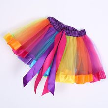 Baby Girl New Kid Girls Rainbow Tutu Skirts Pettiskirt Costumes Party Ballet Dance Wear Skirt Clothes For Girls For 2-10Y toddler baby girl party pageant pu leather pencil skirt zipper biker skirt kid girls skirts clothes