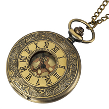 цена на Steampunk Mechanical Pocket Watches Women Men Vintage Bronze Skeleton Transparent Retro Necklace Pocket Watch With Chain For Man