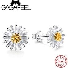 006aa3af4666 GAGAFEEL 100% Pure 925 Sterling silver Daisy Flower Stud pendientes hermoso  lindo Margarita pendiente para