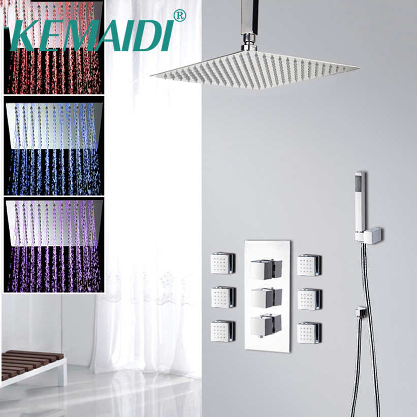 KEMAIDI 8 1216 LED Bathroom Bathtub Rainfall Shower head Polished Wall Mounted Swivel Mixer Taps Shower Faucets Set Chrome