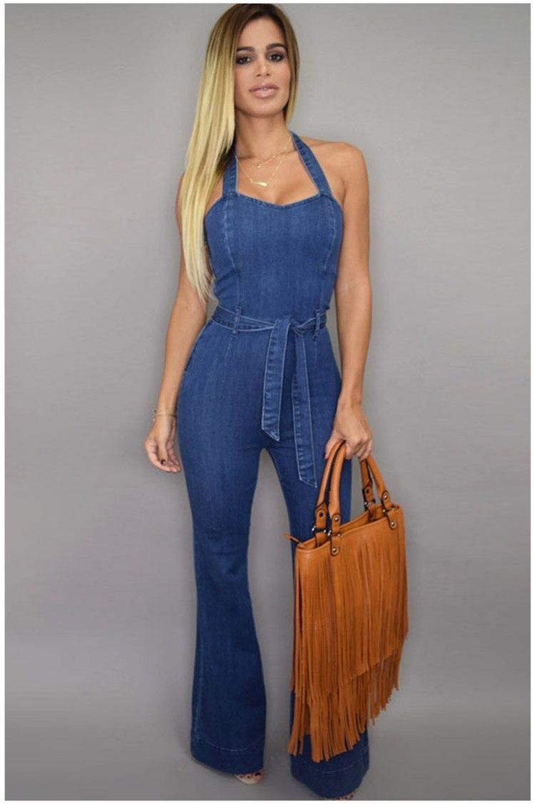 Blue Denim Romper - Classic Button Down Shirt Style