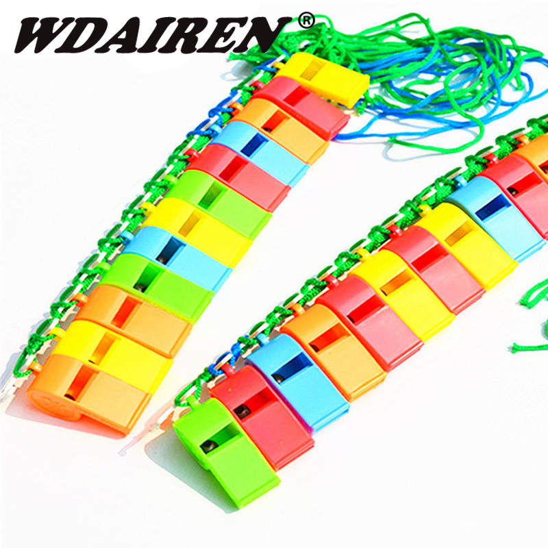 Hot Sale 20Pcs/lot Plastic Whistle With Lanyard for Boats Raft Party Sports Games Emergency Survival All Brand KS-001