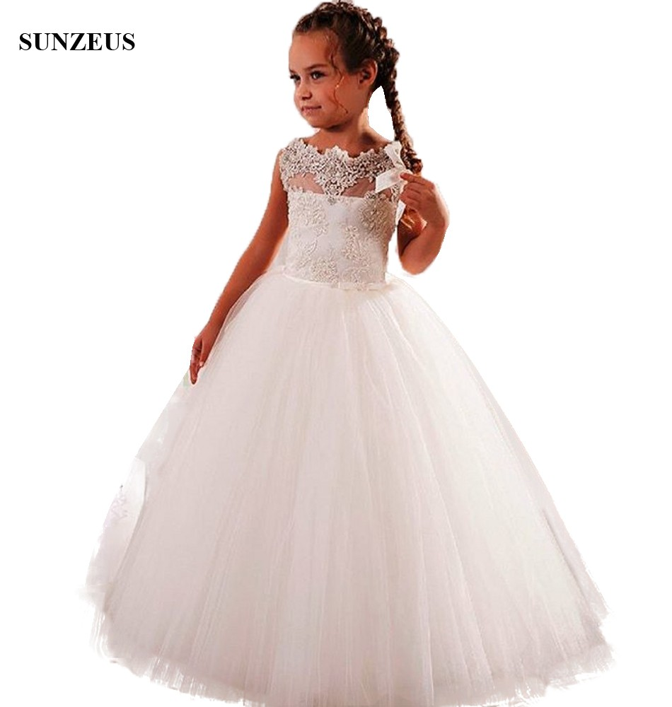 A-line Appliques   Flower     Girl     Dress   Tank Puffy Long Tulle Kids Wedding Party Gowns vestidos ninas 2018 FLG109