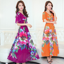 2017 Summer Middle Aged  Sleeve Put Floral Chiffon Dress Slim Printing   Party Dresses long dress